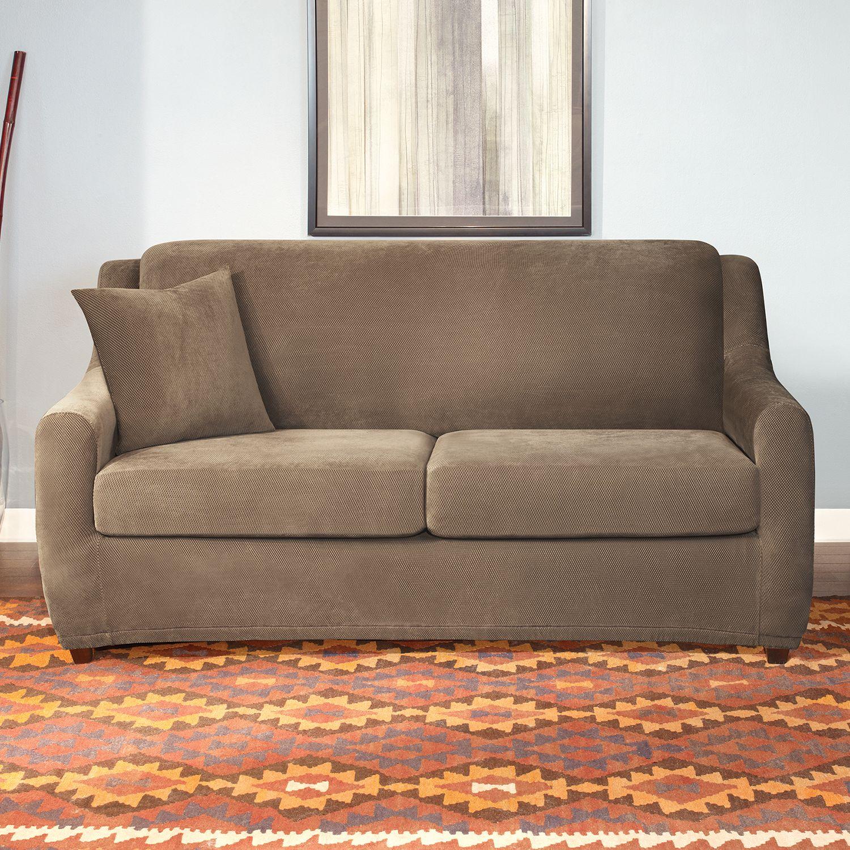 sure fit stretch pique 3pc sofa slipcover