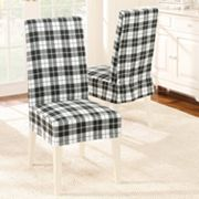 Sure Fit Faux-Suede Plaid Dining Chair Slipcover