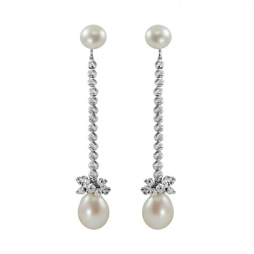 Sterling Silver Freshwater Cultured Pearl Bead Linear Drop Earrings