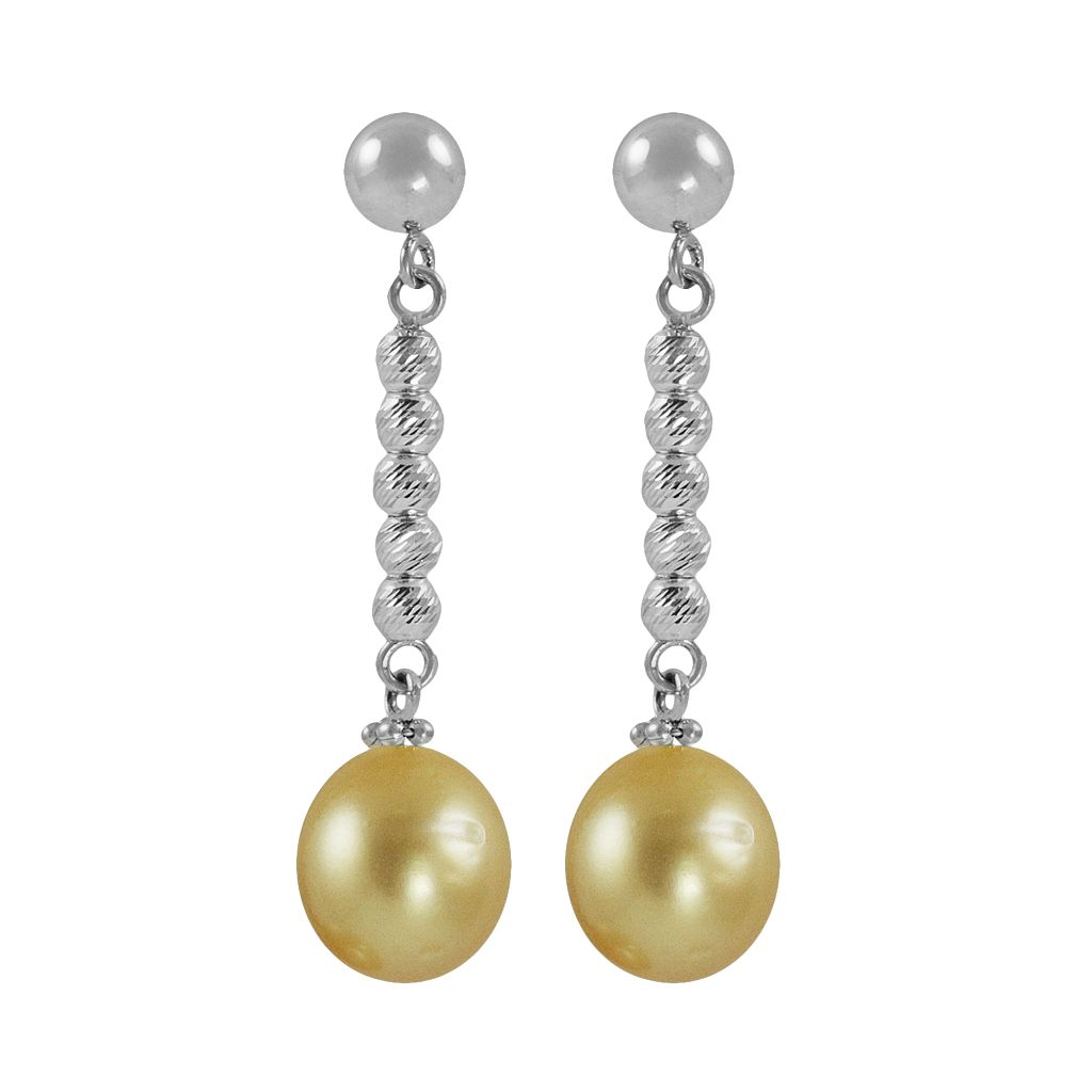 Sterling Silver South Sea Cultured Pearl Bead Linear Drop Earrings