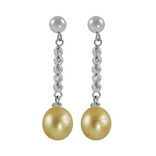 Sterling Silver South Sea Cultured Pearl Bead Linear Drop Earrings