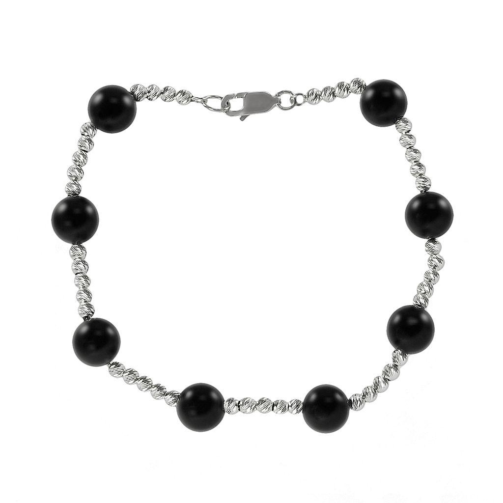 Sterling Silver Onyx Bead Station Bracelet