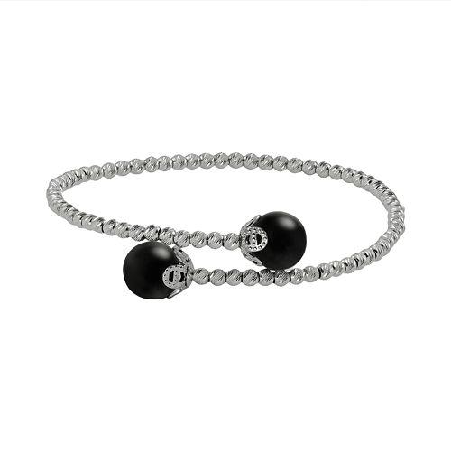 Sterling Silver Onyx Bead Cuff Bracelet