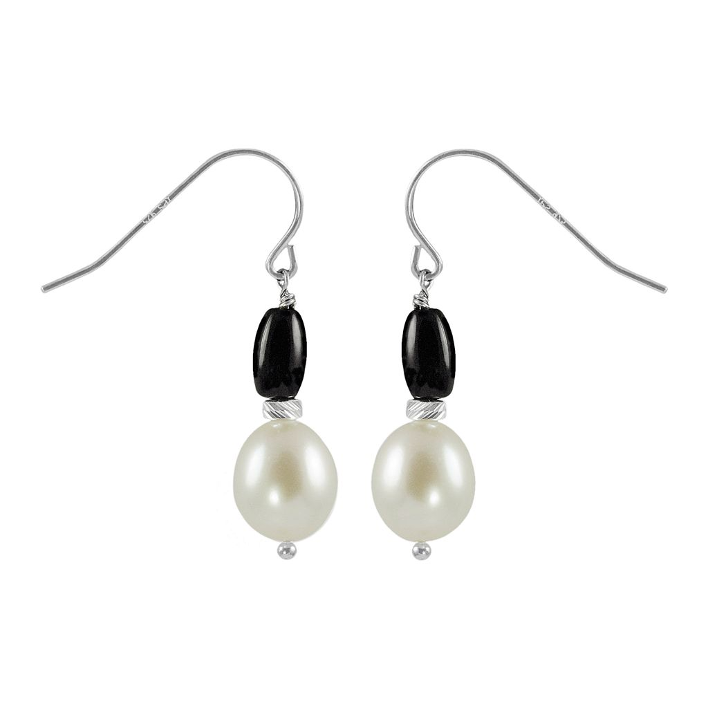 Sterling Silver Freshwater Cultured Pearl & Onyx Drop Earrings