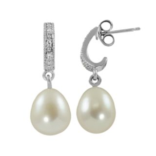 Sterling Silver Freshwater Cultured Pearl and Diamond Accent J-Hoop Earrings