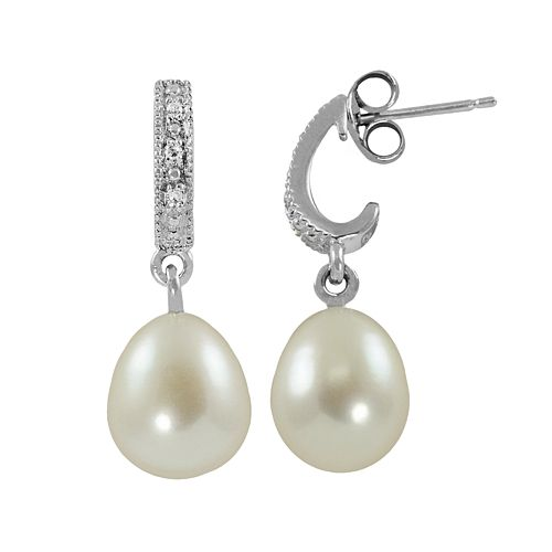 Sterling Silver Freshwater Cultured Pearl & Diamond Accent J-Hoop Earrings