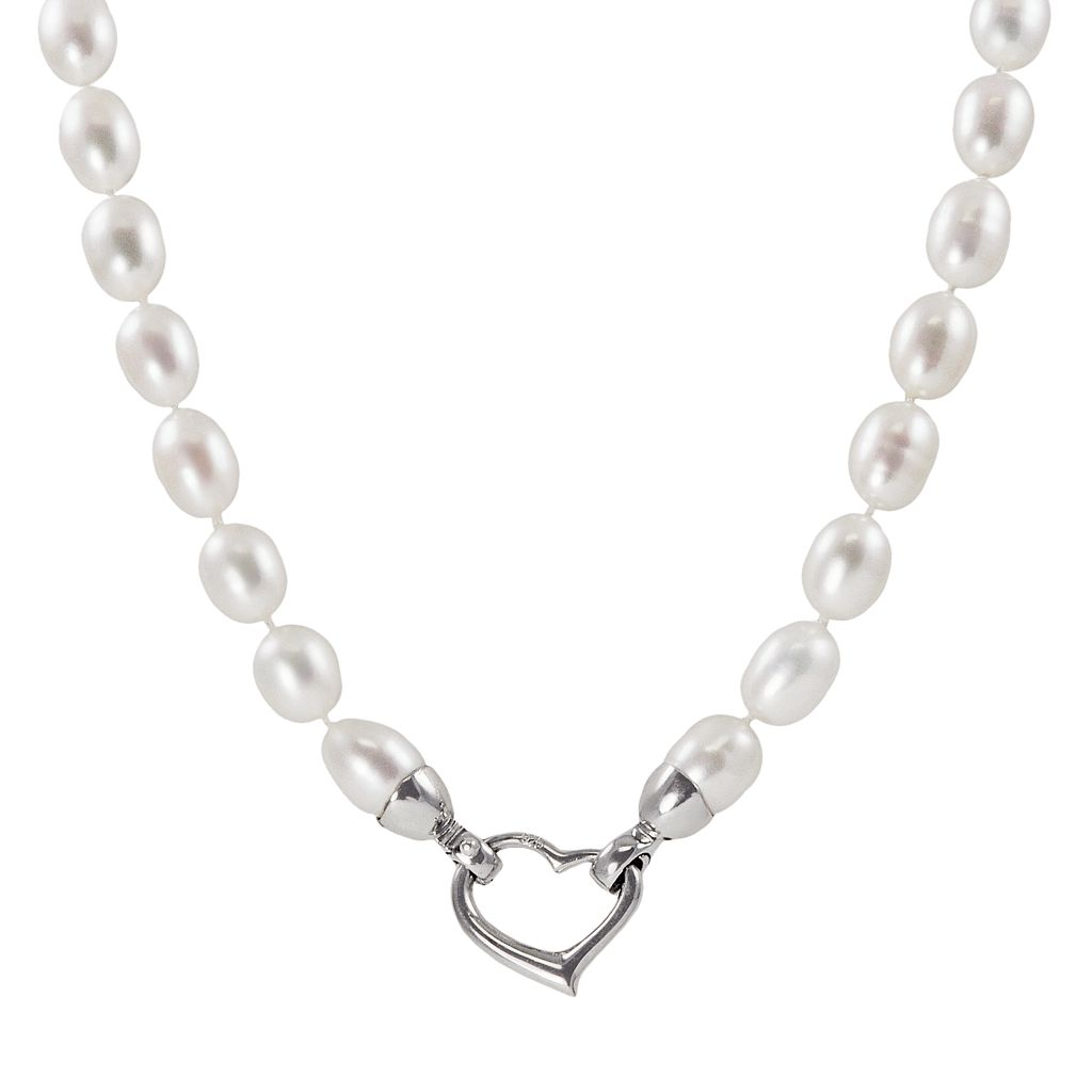 Sterling Silver Freshwater Cultured Pearl Heart Clasp Necklace