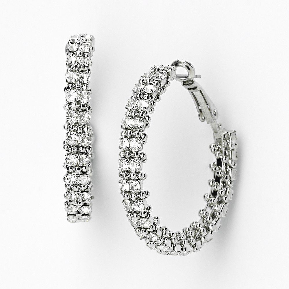 Simply Vera Vera Wang Silver Tone Wrapped Hoop Earrings