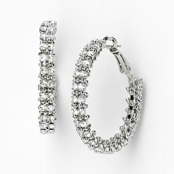 Simply Vera Vera Wang Silver Tone Wrapped Hoop Earrings