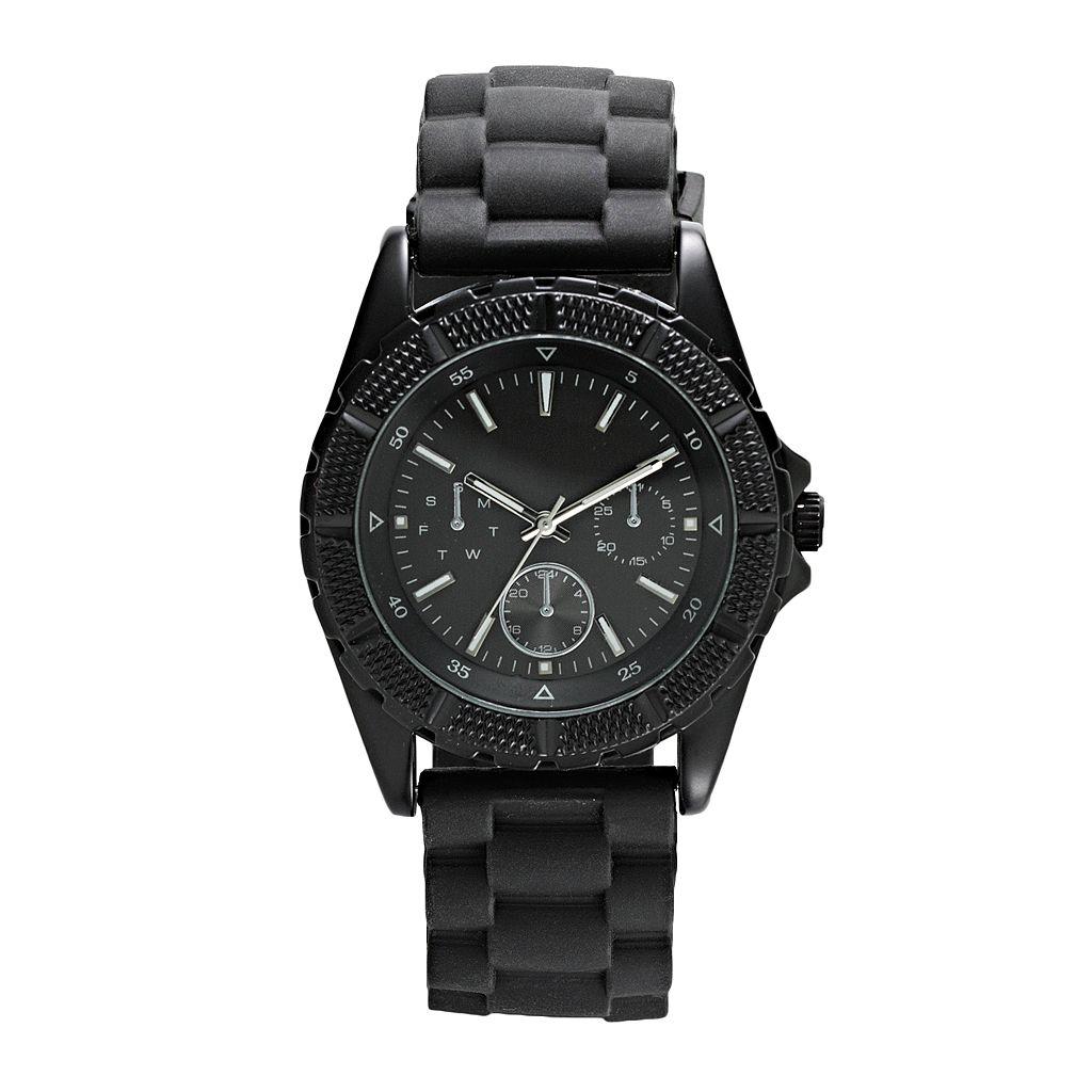 Men's Black Silicone Watch