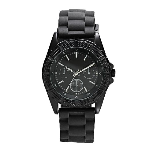 Men's Black Silicone Watch