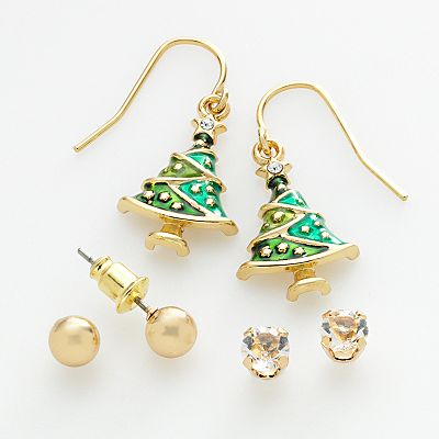 Gold Tone Simulated Crystal Stud and Christmas Tree Drop Earring Set