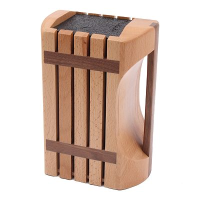 Kapoosh Beechwood Knife Block With Carrying Handle