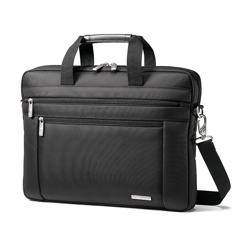 Samsonite Classic Laptop Briefcase, Black Keep organized while on the go with this Samsonite laptop briefcase. In black. SmartPocket design slides over upright handles for mobility Padded laptop compartment protects your laptop computer Front pocket and organizer give you easy access Wrapped bale handles ensure comfort while traveling Padded removable shoulder strap adds convenience Durable 1680-denier ballistic fabric offers lasting use 12H x 16W x 2D Weight: 1.5 lbs. Holds most laptops with a 15.6-in. screen Nylon Zipper closures Manufacturer's 10-year limited warrantyFor warranty information please click here Model no. 43271-1041 Size: Cmptr Case. Gender: Unisex. Age Group: Adult.