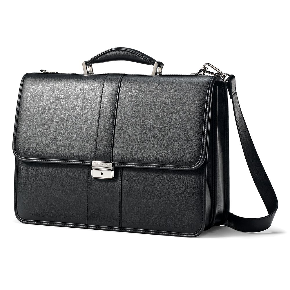 Classic Leather Flap Laptop Briefcase
