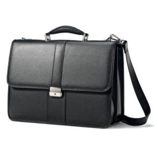 Samsonite Classic Leather Flap Laptop Briefcase