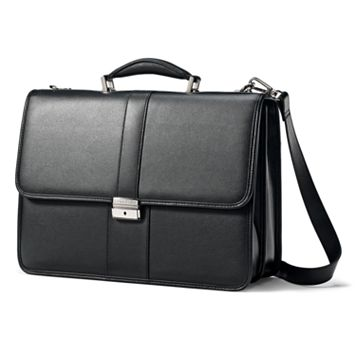 Samsonite Classic Leather Flap Laptop Briefcase