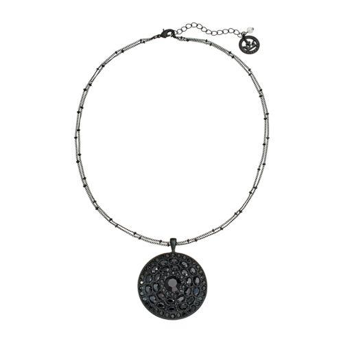Trifari Black Bead Round Pendant