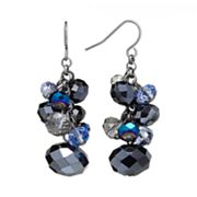 Trifari Jet Bead Cluster Drop Earrings