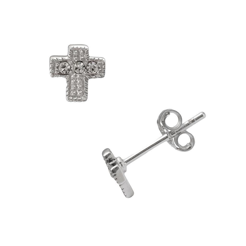 Sterling Silver Crystal Cross Stud Earrings