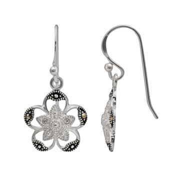 Sterling Silver Crystal & Marcasite Flower Drop Earrings