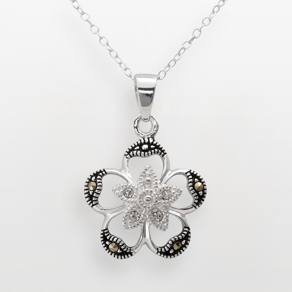 Sterling Silver Crystal & Marcasite Openwork Flower Pendant
