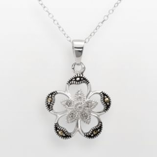 Sterling Silver Crystal and Marcasite Openwork Flower Pendant