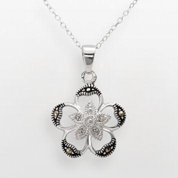 Sterling Silver Crystal & Marcasite Openwork Flower Pendant