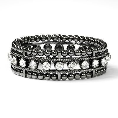 Simply Vera Vera Wang Jet Simulated Crystal Cuff Bracelet
