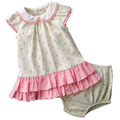 Chaps Floral Checkered Dress - Baby