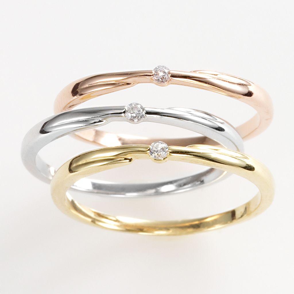 Tri-Tone Simulated Crystal Stack Ring Set