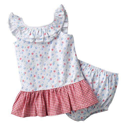 Chaps Floral Checkered Seersucker Dress - Baby