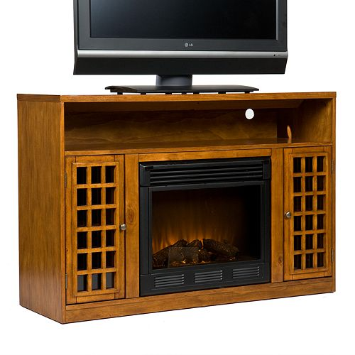 Narita Pine Media Console & Electric Fireplace