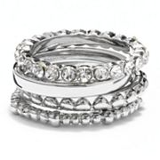 Silver Tone Simulated Crystal Textured Stack Ring Set
