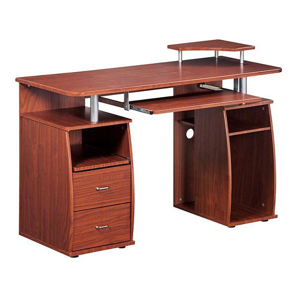 Techni Mobili Mahogany Computer Desk, Flash Furniture Computer Desk With 3 Drawer Pedestal Mahogany