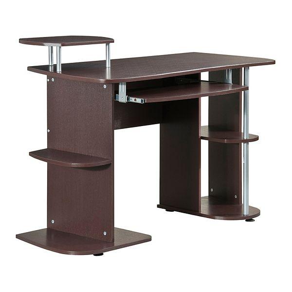 Techni Mobili Pedestal Computer Desk, Flash Furniture Frosted Computer Desk With 3 Drawer Pedestal White