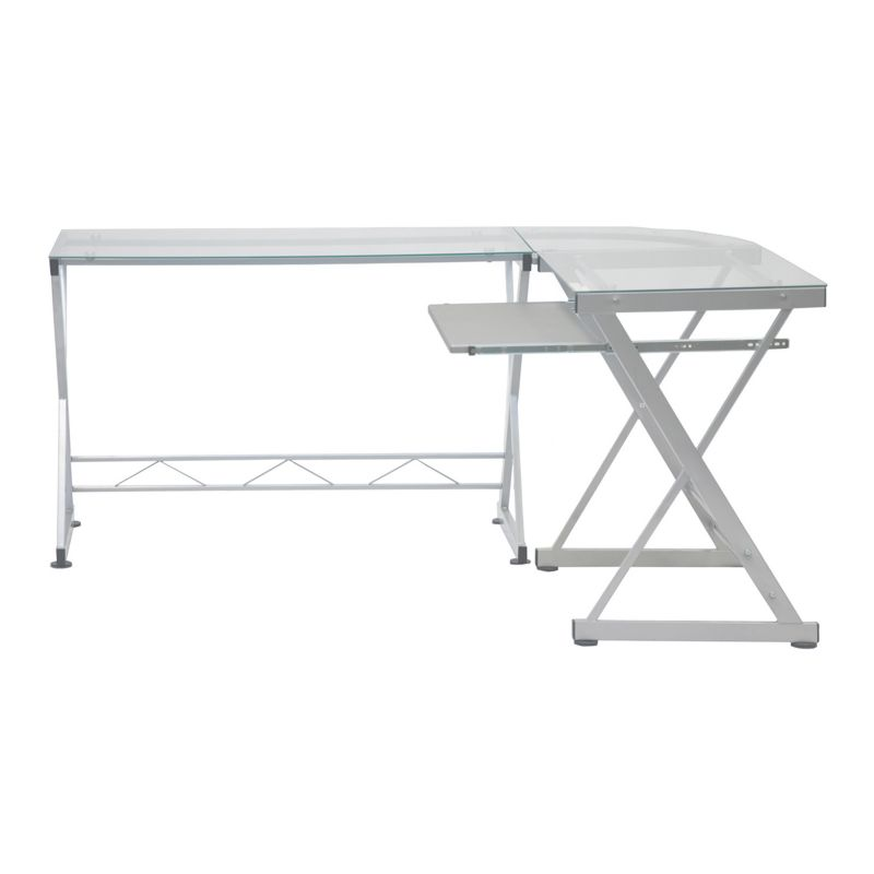 Techni Mobili Glass Top L-Shaped Computer Desk, White