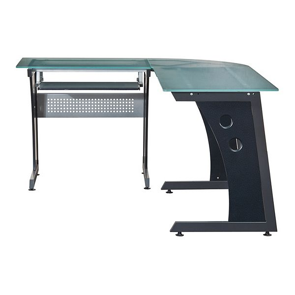 Techni Mobili Frosted Glass L Shaped, Flash Furniture Frosted Computer Desk With 3 Drawer Pedestal White