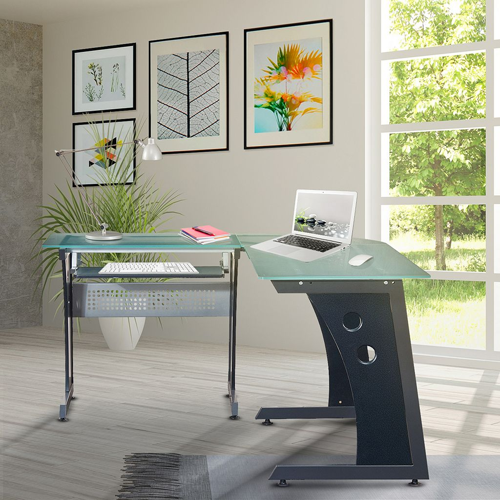 Techni Mobili Frosted Glass L-Shaped Computer Desk