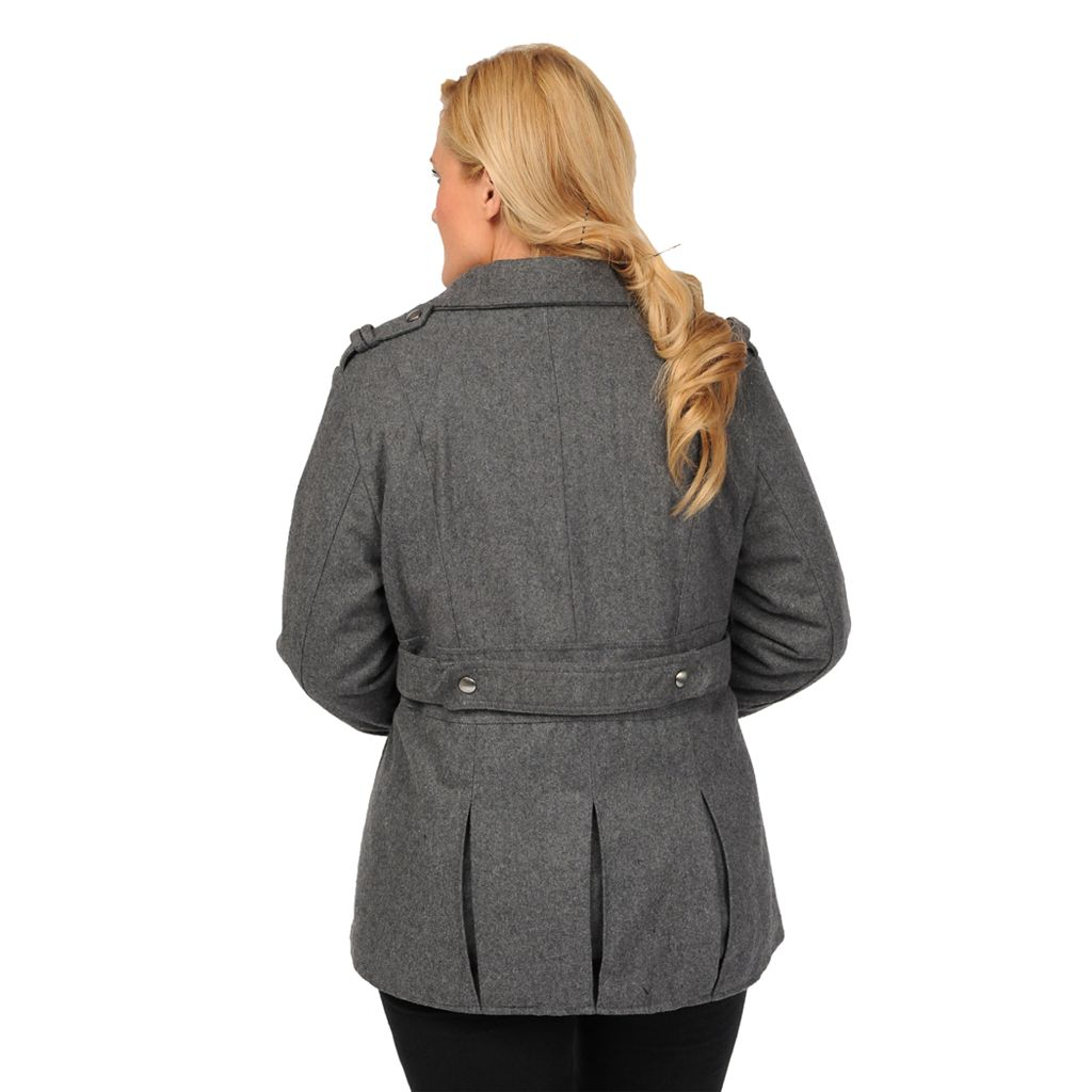 Plus Size Excelled Military Wool Peacoat