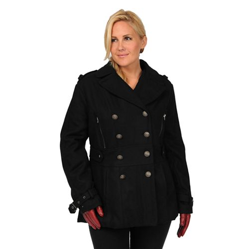 Plus Size Excelled Military Wool Blend Peacoat