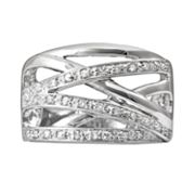 Sterling Silver 1/4-ct. T.W. Diamond Crisscross Ring
