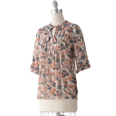 LC Lauren Conrad Floral Button-Tab Henley