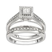 10k White Gold 1/5-ct. T.W. Princess Cut Diamond Square Frame Ring Set