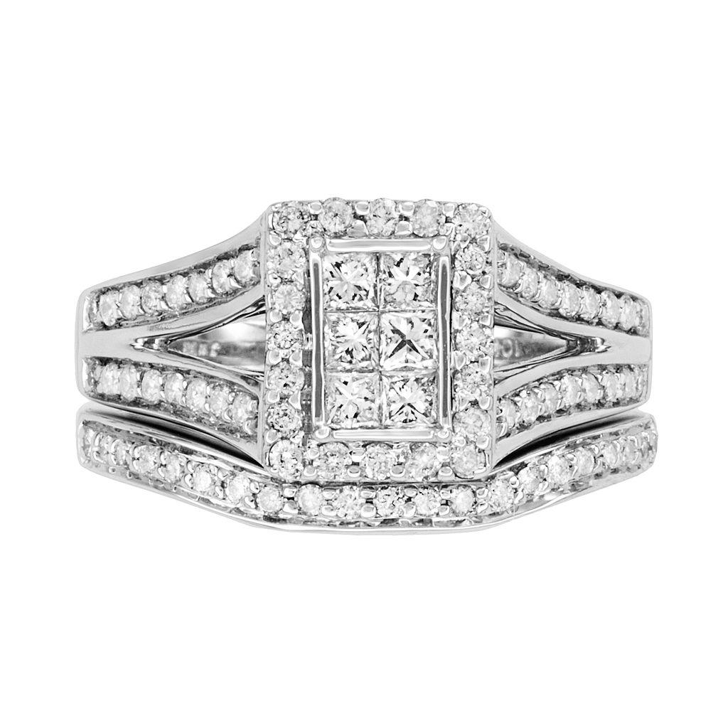 Princess-Cut Diamond Frame Engagement Ring Set in 10k White Gold (1 ct. T.W.)