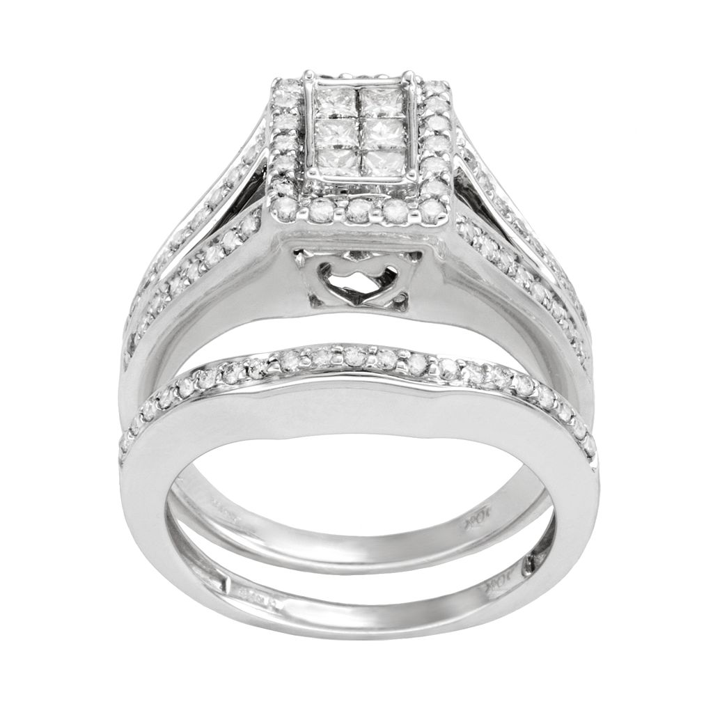 Princess-Cut Diamond Frame Engagement Ring Set in 10k White Gold (1 ct. T.W.)