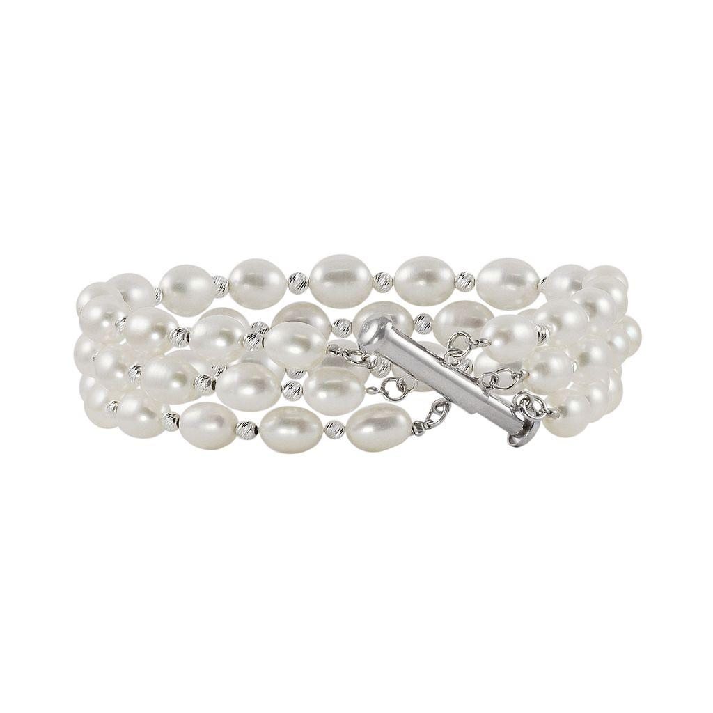 Sterling Silver Freshwater Cultured Pearl Bead Multistrand Bracelet