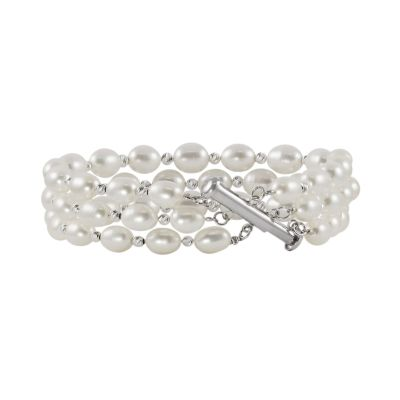 Sterling Silver Freshwater Cultured Pearl Bead Multistrand Bracelet