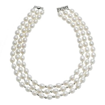 Sterling Silver Freshwater Cultured Pearl Bead Multistrand Necklace