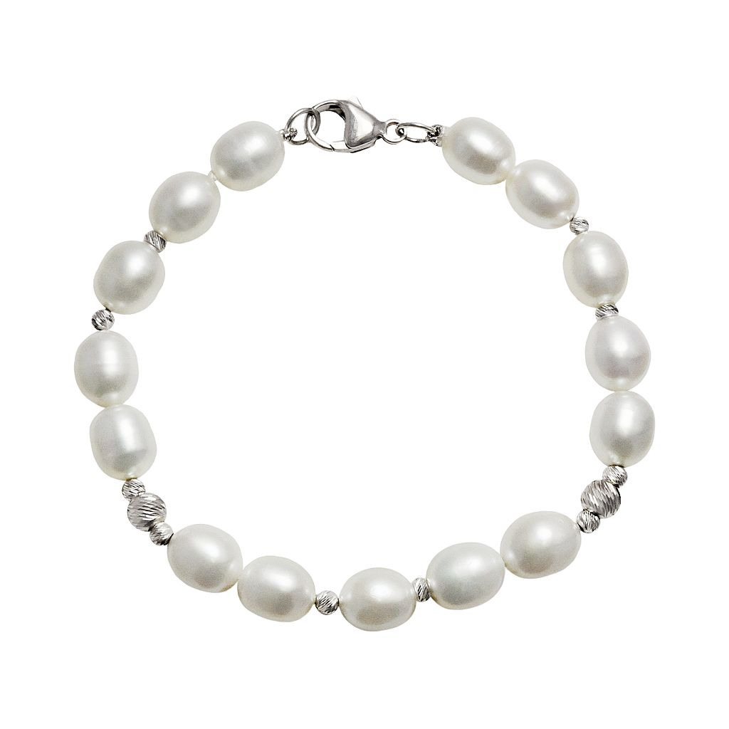 Sterling Silver Freshwater Cultured Pearl Bead Bracelet